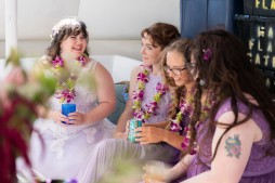 Melissa relaxing with her bridal party before the wedding ceremony.